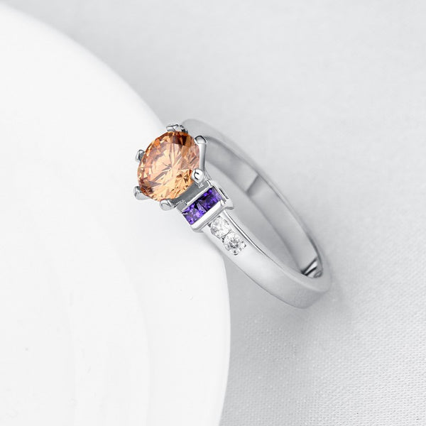 Amethyst & Citrine Multi Gem Ring in White Gold, , Golden NYC Jewelry, Golden NYC Jewelry fashion jewelry, cheap jewelry, jewelry for mom,