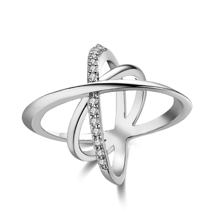 Intertwined Matrix Pav'e Swarovski Elements Cocktail Ring in White Gold, , Golden NYC Jewelry, Golden NYC Jewelry fashion jewelry, cheap jewelry, jewelry for mom,
