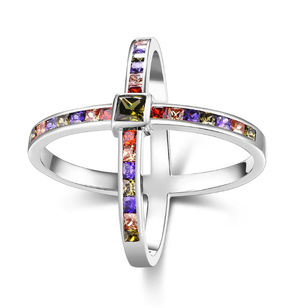 Rainbow Crystals Criss-Cross Statement Ring Set in White Gold, , Golden NYC Jewelry, Golden NYC Jewelry fashion jewelry, cheap jewelry, jewelry for mom,