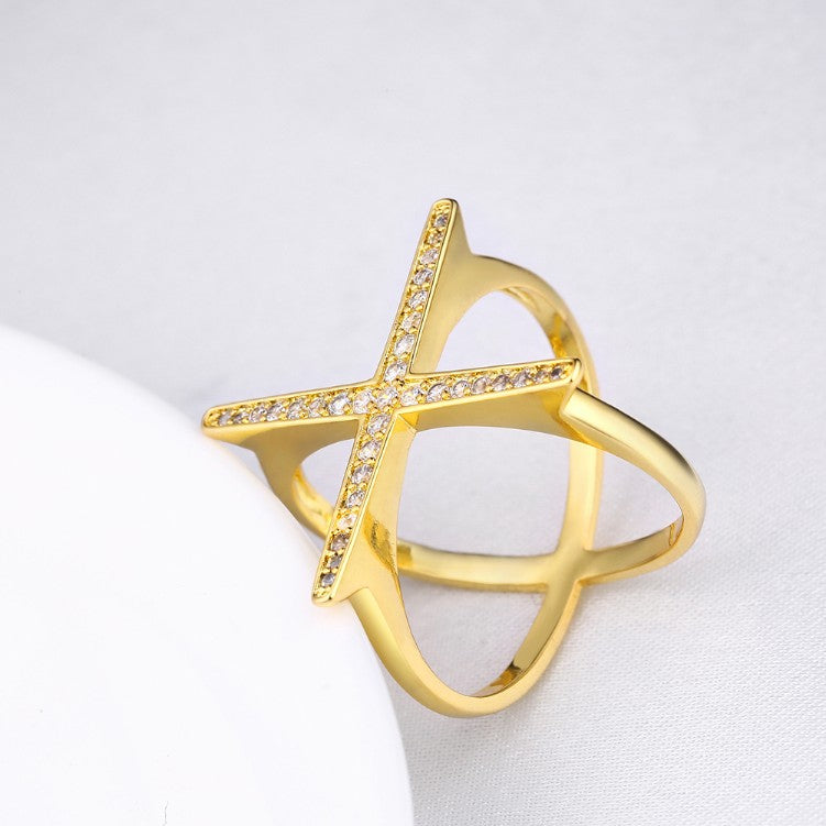 Swarovski Elements Criss-Cross Statement Ring Set in Gold - Golden NYC Jewelry www.goldennycjewelry.com fashion jewelry for women