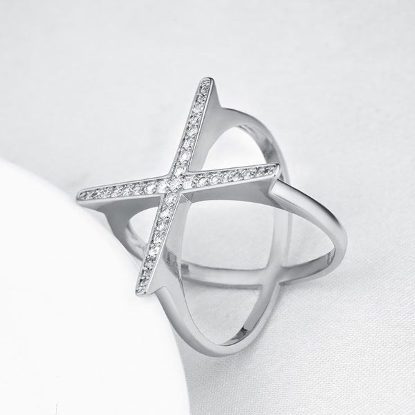 Swarovski Elements Criss-Cross Statement Ring Set in White Gold - Golden NYC Jewelry www.goldennycjewelry.com fashion jewelry for women