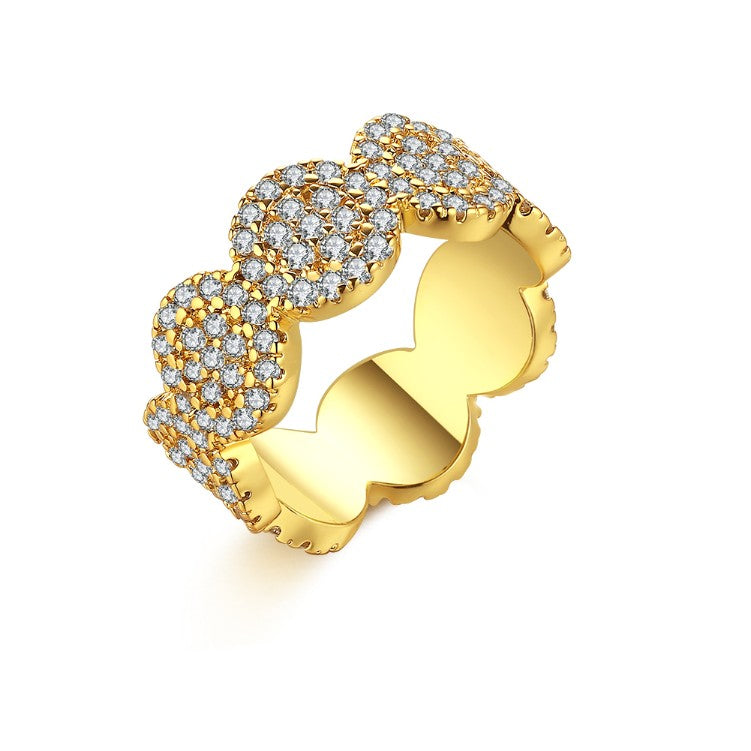 Micro-Pav'e Circular Honeycomb Swarovski Elements Ring in White Gold, , Golden NYC Jewelry, Golden NYC Jewelry fashion jewelry, cheap jewelry, jewelry for mom,