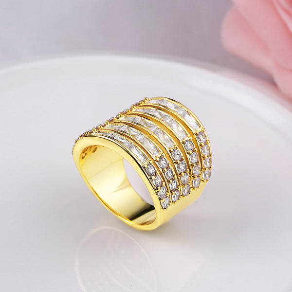 Princess & Baguette Cut Swarovski Large Cocktail Ring, , Golden NYC Jewelry, Golden NYC Jewelry fashion jewelry, cheap jewelry, jewelry for mom,