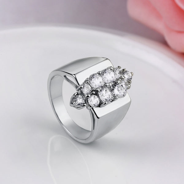 Micro-Pav'e Marquis Cut Swarovski Crystals Cocktail Ring Set in White Gold