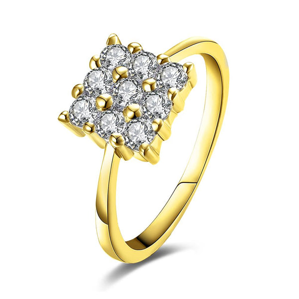 Nine Stone Square Shaped Swarovski Elements Ring in Gold, , Golden NYC Jewelry, Golden NYC Jewelry fashion jewelry, cheap jewelry, jewelry for mom,