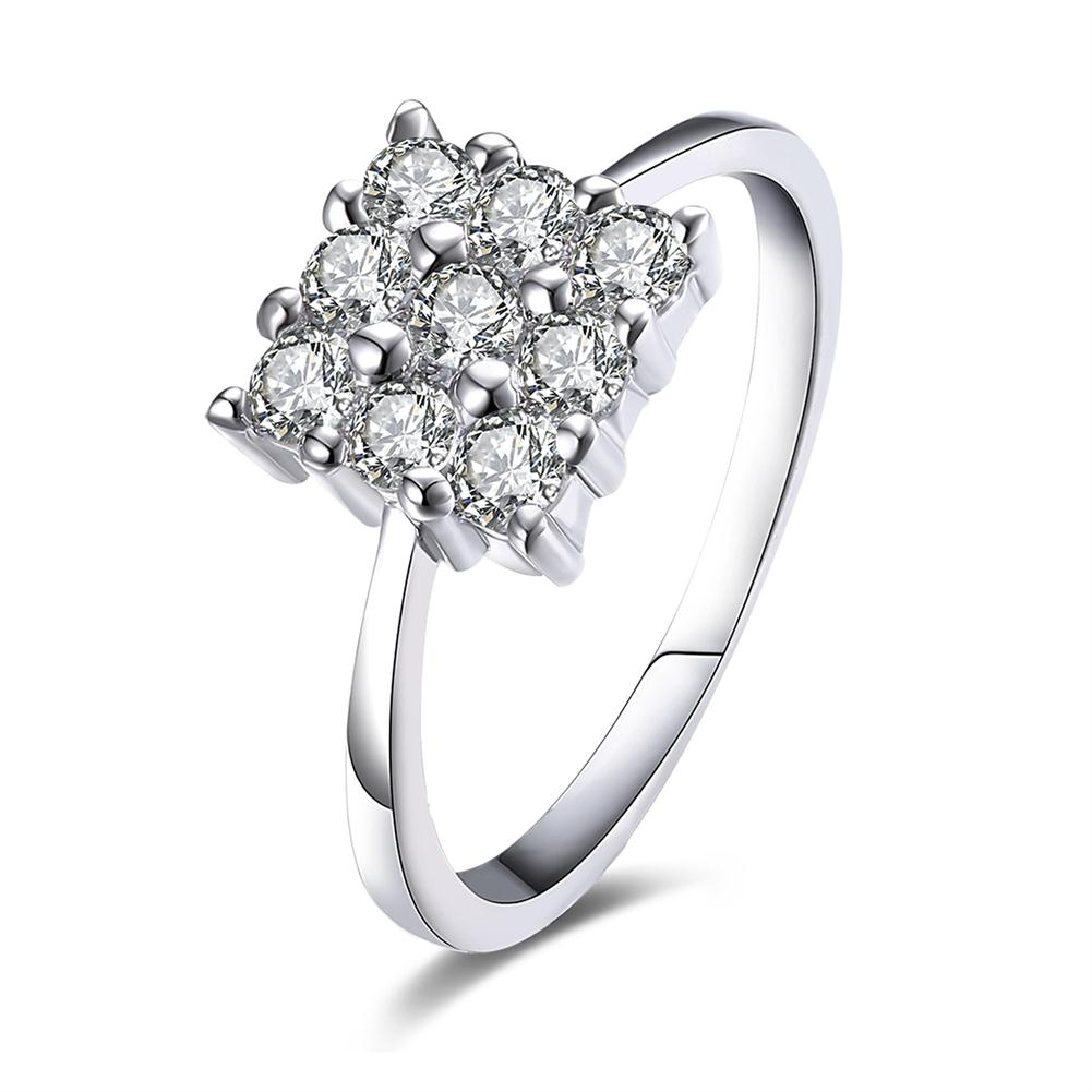 Nine Stone Square Shaped Swarovski Elements Ring in White Gold, , Golden NYC Jewelry, Golden NYC Jewelry fashion jewelry, cheap jewelry, jewelry for mom,