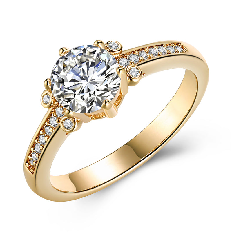 Austrian Elements Single Solitaire 18K Gold Ring