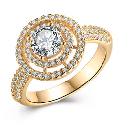 Circular Floral Micro-Pav'e Swarovski Elements Cocktail Ring in Gold, , Golden NYC Jewelry, Golden NYC Jewelry fashion jewelry, cheap jewelry, jewelry for mom,