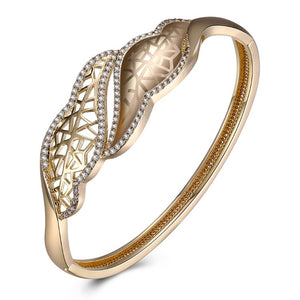 Austrian Crystal 18K Gold Plated Ariana Bangle - Golden NYC Jewelry