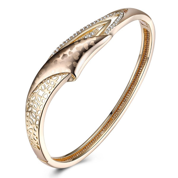 Swarovski Crystal 18K Gold Plated Heart Print Bangle - Golden NYC Jewelry www.goldennycjewelry.com fashion jewelry for women