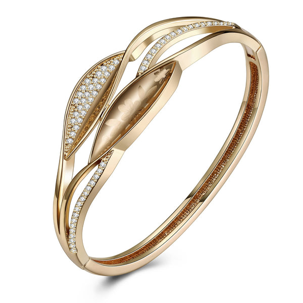 Swarovski Crystal 18K Gold Plated Floral Print Bangle - Golden NYC Jewelry www.goldennycjewelry.com fashion jewelry for women