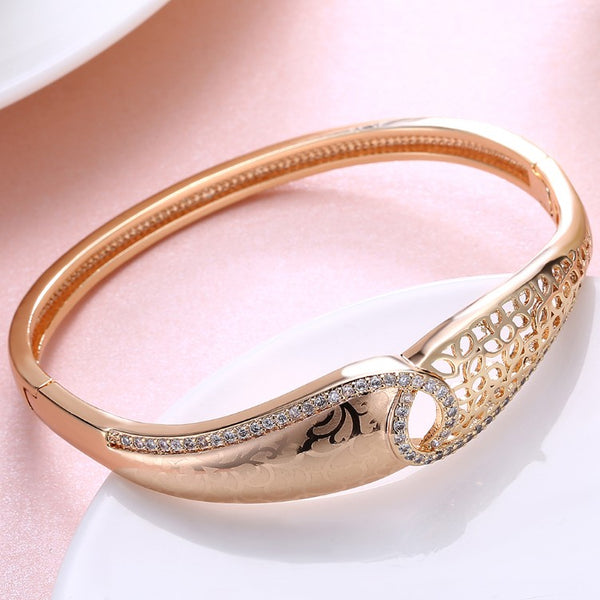 Swarovski Crystal 18K Gold Plated Filigree Twist Bangle - Golden NYC Jewelry www.goldennycjewelry.com fashion jewelry for women