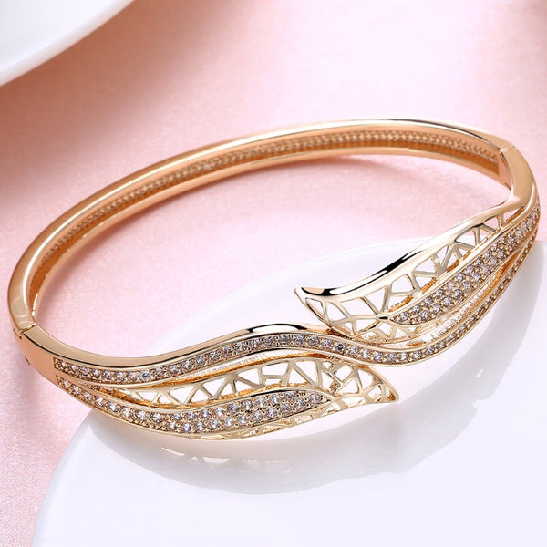 Swarovski Crystal 18K Gold Plated Double Lead Ends Bangle - Golden NYC Jewelry www.goldennycjewelry.com fashion jewelry for women
