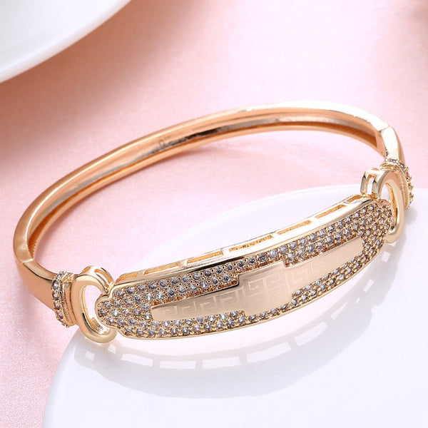 Swarovski Crystal 18K Gold Plated Pave Greek Bangle - Golden NYC Jewelry www.goldennycjewelry.com fashion jewelry for women