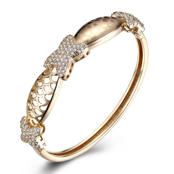 Swarovski Crystal 18K Gold Plated Triple X's Bangle - Golden NYC Jewelry www.goldennycjewelry.com fashion jewelry for women