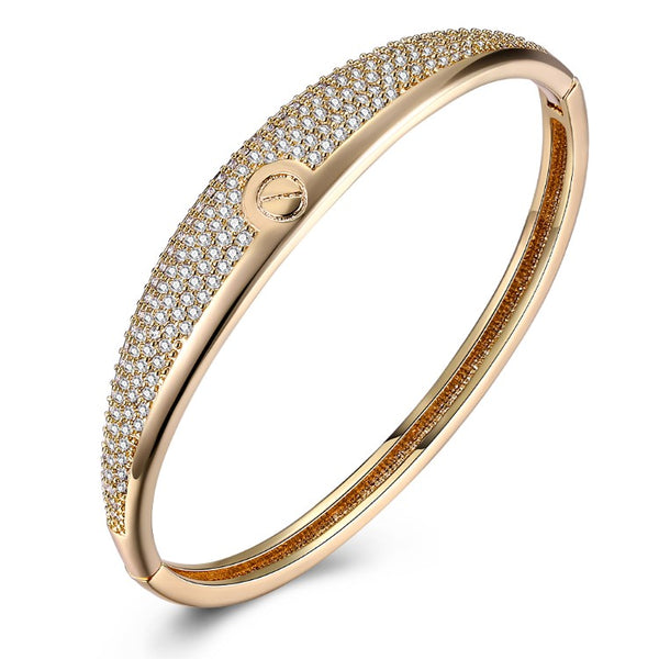 Swarovski Crystal 18K Gold Plated Nail Screw Bangle - Golden NYC Jewelry www.goldennycjewelry.com fashion jewelry for women