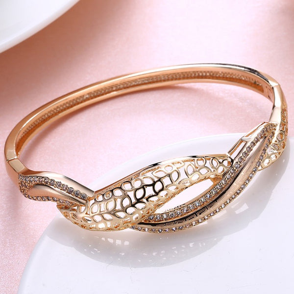 Swarovski Crystal 18K Gold Plated Wave after Wave Bangle - Golden NYC Jewelry www.goldennycjewelry.com fashion jewelry for women