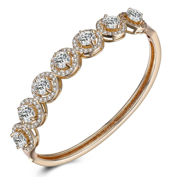 Swarovski Crystal 18K Gold Plated 7 Crystal Halo Bangle - Golden NYC Jewelry www.goldennycjewelry.com fashion jewelry for women