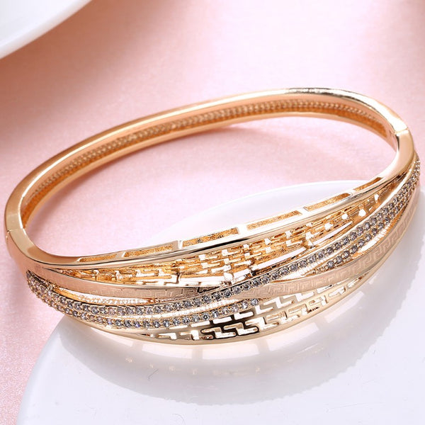 Swarovski Crystal 18K Gold Plated Crossroads Bangle - Golden NYC Jewelry www.goldennycjewelry.com fashion jewelry for women
