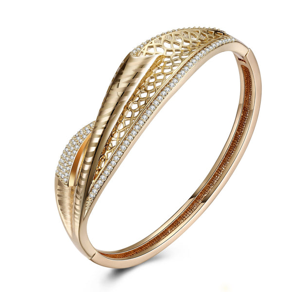 Swarovski Crystal Pave Filigree X Bangle - Golden NYC Jewelry www.goldennycjewelry.com fashion jewelry for women