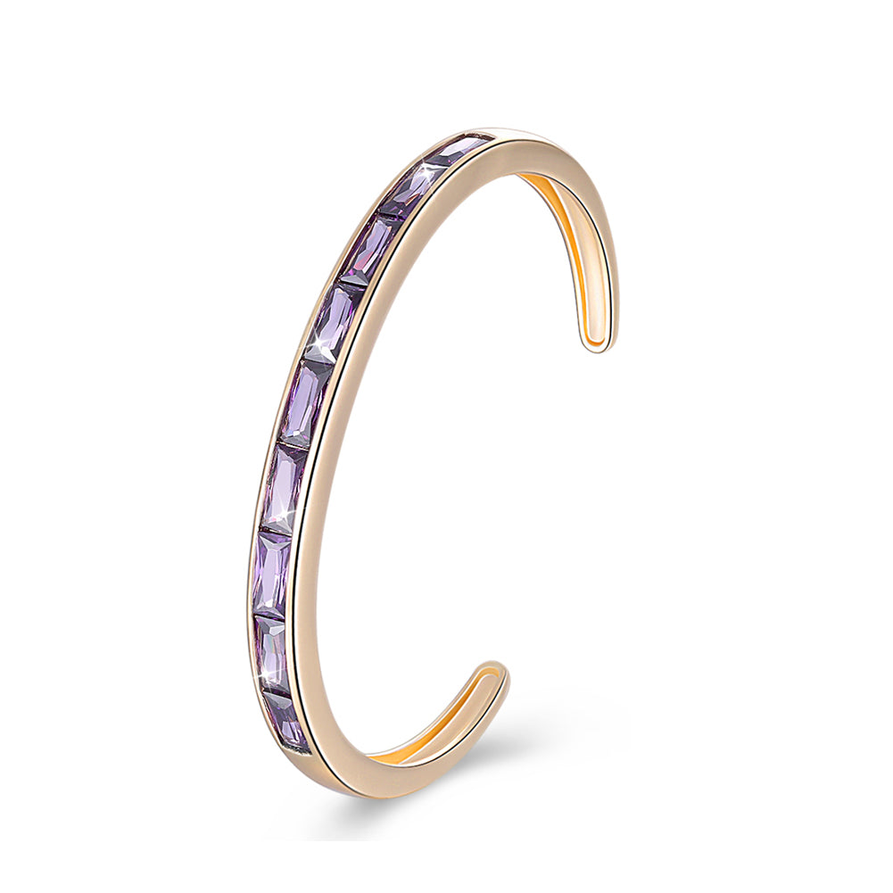 Swarovski Elements Emerald Cut Open Bangle - Purple