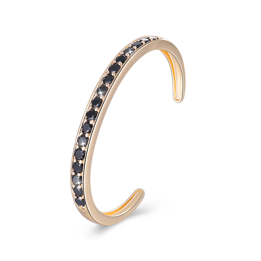 Pav'ed Iced Out Open Bangle in 14K Gold - Black