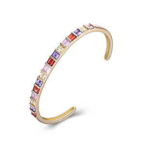 Emerald Cut Swarovski Elements Cuff Bangle- Rainbow, Bracelet, Golden NYC Jewelry, Golden NYC Jewelry  jewelryjewelry deals, swarovski crystal jewelry, groupon jewelry,, jewelry for mom,
