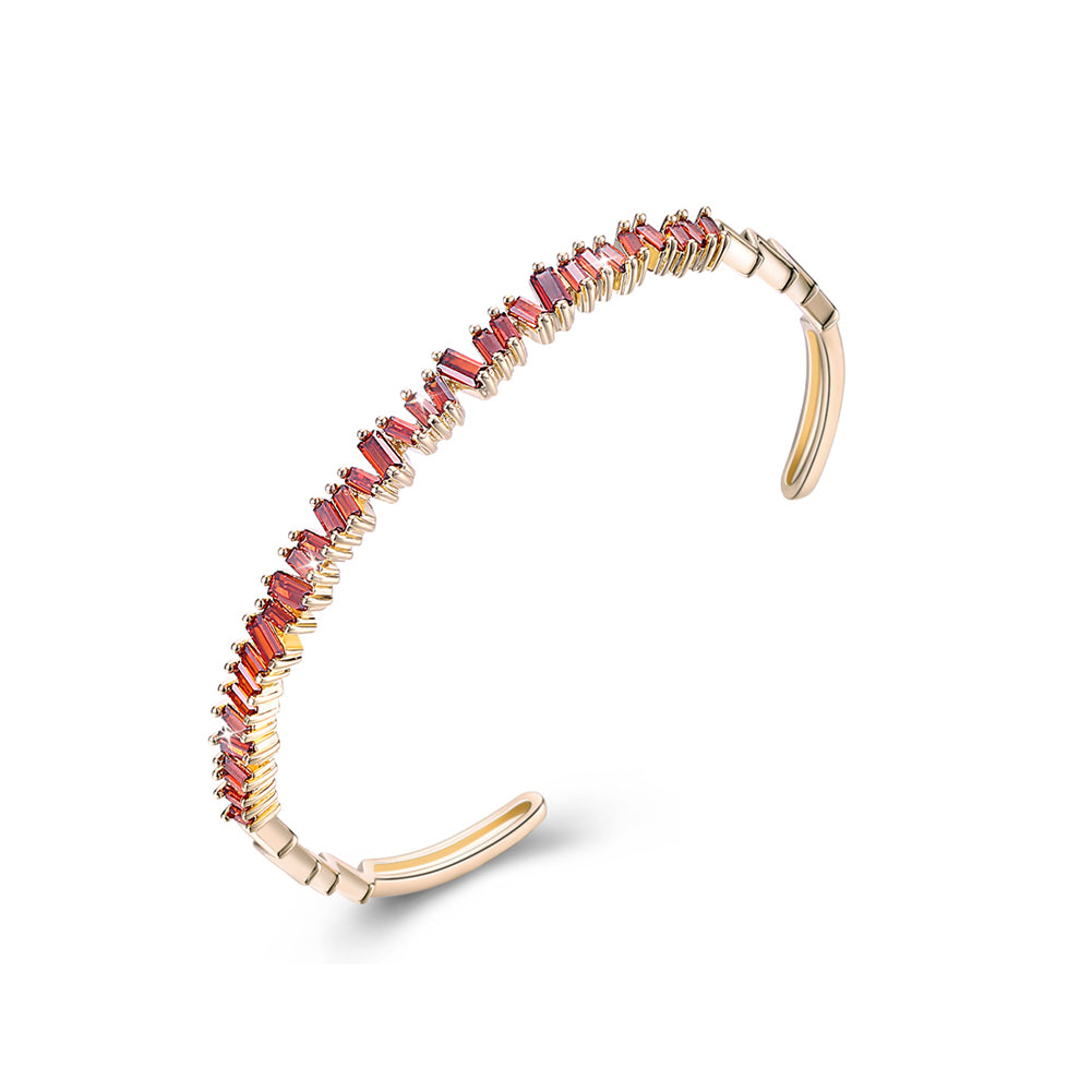Sleek Emerald Cut Swarovski Open Bangle in 14K Gold - Red