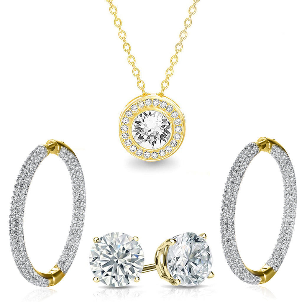 Pave Halo Disc Necklace & Pave Hoop Earring made With Austrian Crystals with Luxe Box - 18K Gold
