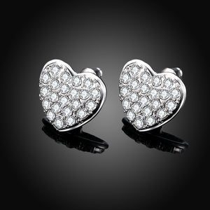 Micro-Pav'e Austrian Elements Heart Shaped Studs in 18K White Gold