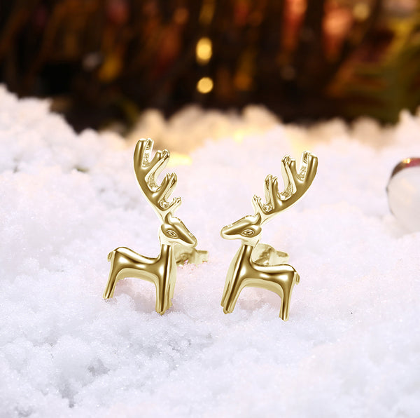 18K Gold Plated Classic Reindeer Design Stud Earrings - Three Options Available - Golden NYC Jewelry www.goldennycjewelry.com fashion jewelry for women