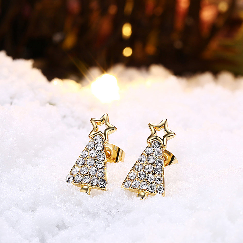 Christmas Tree Stud Swarovski Elements Earrings in 14K Gold Plating- Multiple Options Available