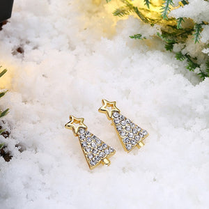 Swarovski Crystal Filled Christmas Tree Stud Earrings