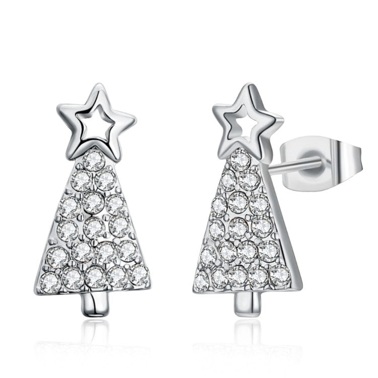 Austrian Crystal Filled Christmas Tree Stud Earrings
