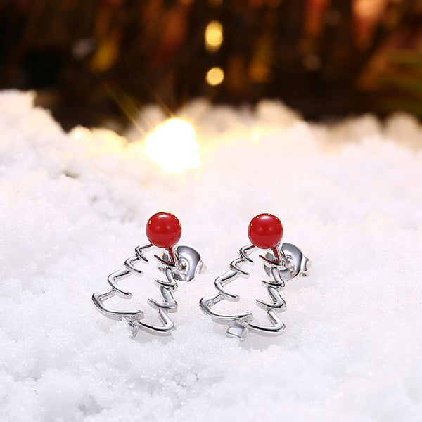 18K White Gold Plated Laser Cut Christmas Tree Stud Earring