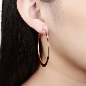 42mm Flat Hoop Earring in 18K Rose Gold Plated, Earring, Golden NYC Jewelry, Golden NYC Jewelry  jewelryjewelry deals, swarovski crystal jewelry, groupon jewelry,, jewelry for mom,