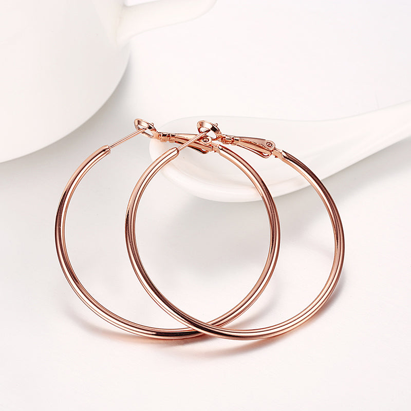 42mm Round Hoop Earring in 18K Rose Gold Plated, Earring, Golden NYC Jewelry, Golden NYC Jewelry  jewelryjewelry deals, swarovski crystal jewelry, groupon jewelry,, jewelry for mom,