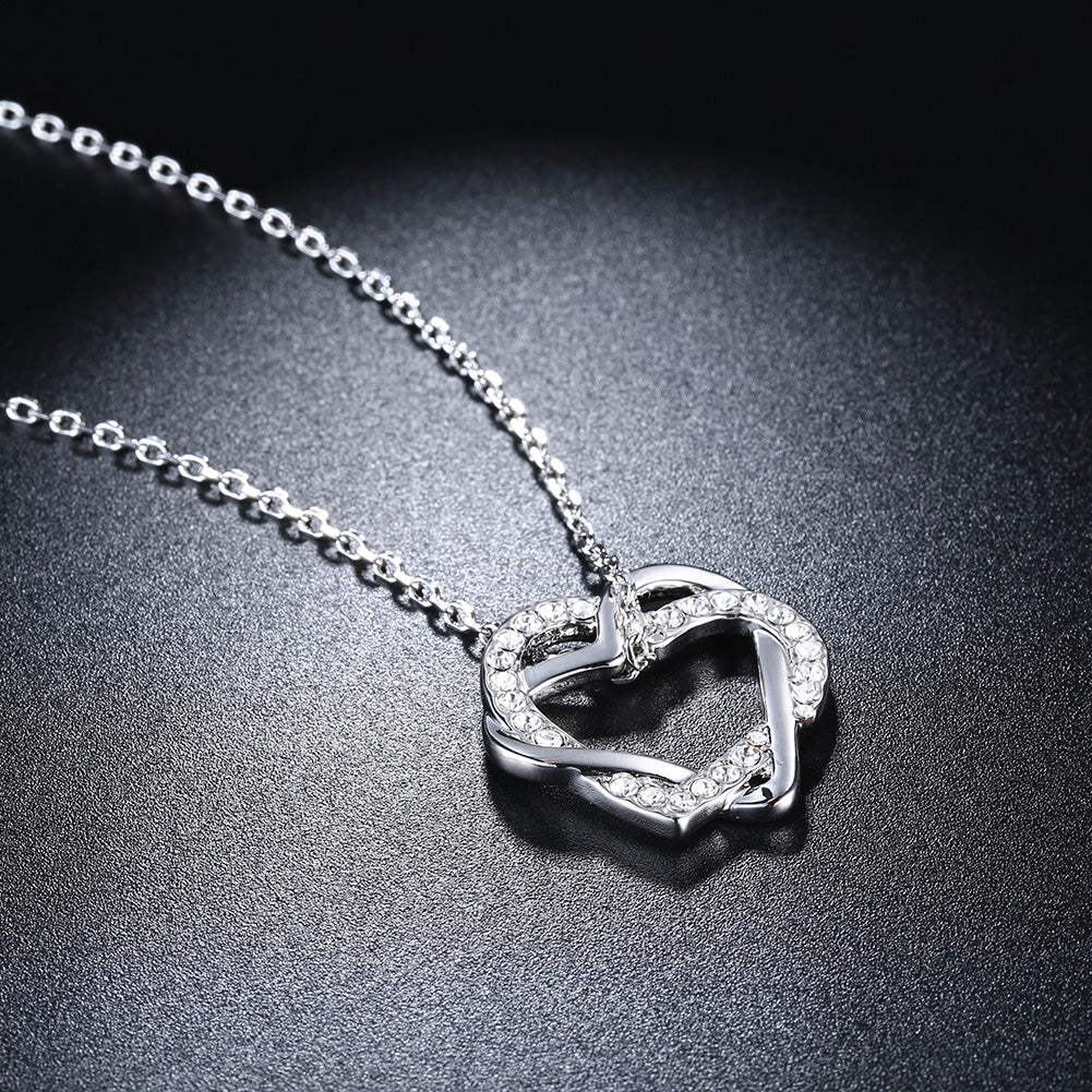 Duo Intertwined Heart Shaped Swarovski Elements Necklace in 18K White Gold, Necklaces, Golden NYC Jewelry, Golden NYC Jewelry  jewelryjewelry deals, swarovski crystal jewelry, groupon jewelry,, jewelry for mom,