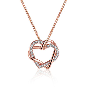 Swarovski Crystal Heart Necklace in 18K Rose Gold Plated