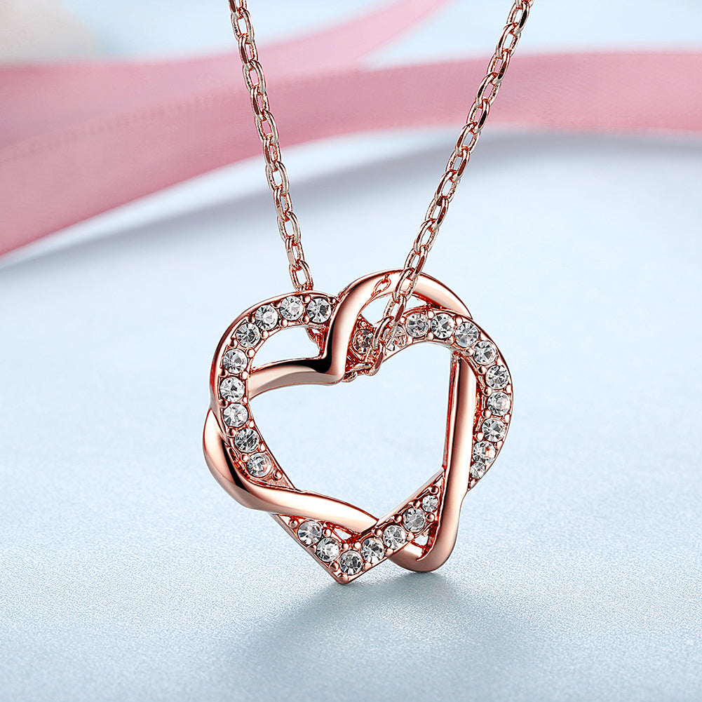 Duo Intertwined Heart Shaped Swarovski Elements Necklace in 14K Rose Gold, Necklaces, Golden NYC Jewelry, Golden NYC Jewelry  jewelryjewelry deals, swarovski crystal jewelry, groupon jewelry,, jewelry for mom,