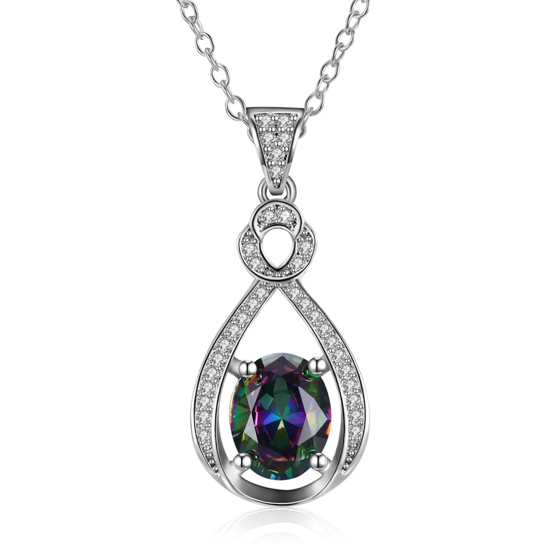Mystic Topaz Infinity Drop Necklace Gemstone