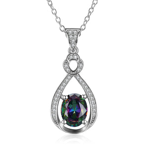Mystic Topaz White Pav'e Clover Shaped White Gold Necklace, , Golden NYC Jewelry, Golden NYC Jewelry fashion jewelry, cheap jewelry, jewelry for mom,