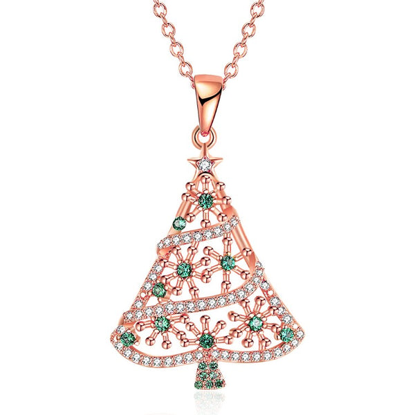 18K Rose Gold Plated Christmas Tree Green Ornaments Necklace - Golden NYC Jewelry www.goldennycjewelry.com fashion jewelry for women