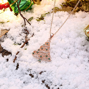 18K Rose Gold Plated Christmas Tree Green Ornaments Necklace, Necklaces, Golden NYC Jewelry, Golden NYC Jewelry  jewelryjewelry deals, swarovski crystal jewelry, groupon jewelry,, jewelry for mom,