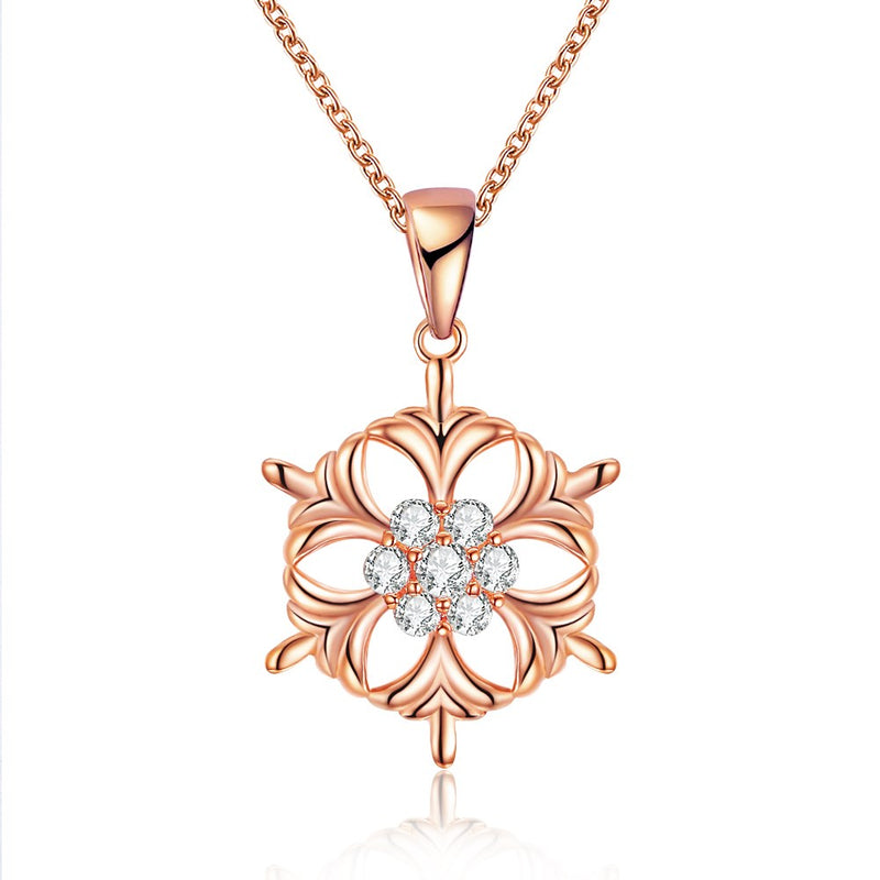 Snowflake Christmas Inspired Necklace in 18K Rose Gold Plated