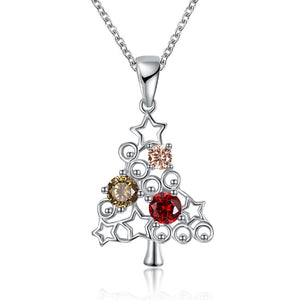 Swirls of Christmas Tree Necklace in 18K White Gold Plated