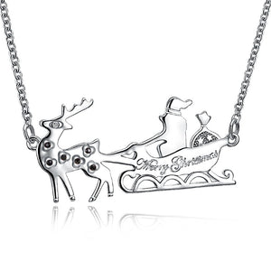 Santa's Sleigh Necklace in 18K Rose or White Gold Plated