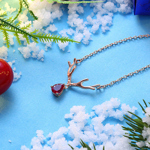 Reindeer Christmas Inspired Necklace in 18K Rose Gold Plated