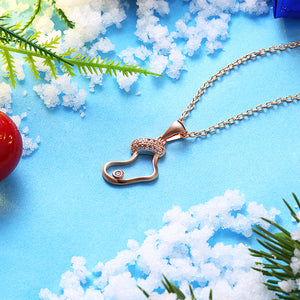 Stocking Christmas Inspired Necklace in 18K Rose Gold Plated