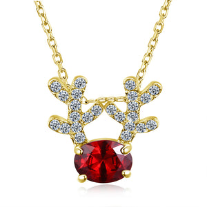 Christmas Themed Reindeer Austrian Elements Necklace in 14K Gold - Multiple Options